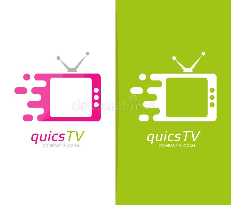 Combinación rápida del logotipo de la televisión del vector Símbolo o icono del cine de la velocidad Plantilla única del diseño d ilustración del vector