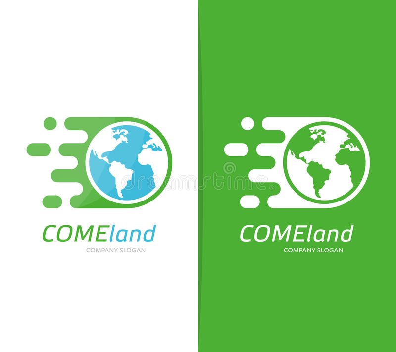 Combinación rápida del logotipo de la tierra del vector Símbolo o icono del mundo de la velocidad Plantilla global y de la ecolog ilustración del vector