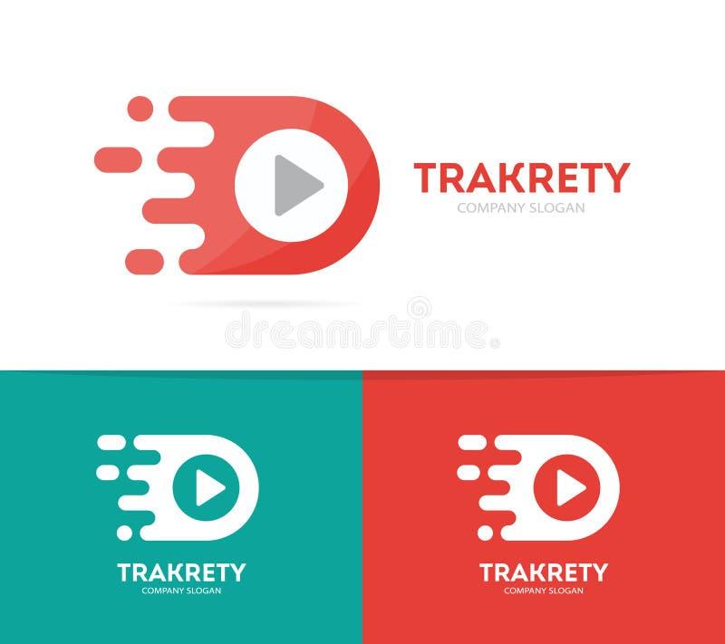 combinación rápida del logotipo del botón de reproducción Símbolo o icono de registro de la velocidad Plantilla audio y video úni stock de ilustración