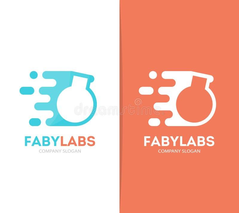 Combinación rápida del logotipo del bulbo del vector Símbolo o icono de la botella del laboratorio de la velocidad Diseño único d ilustración del vector