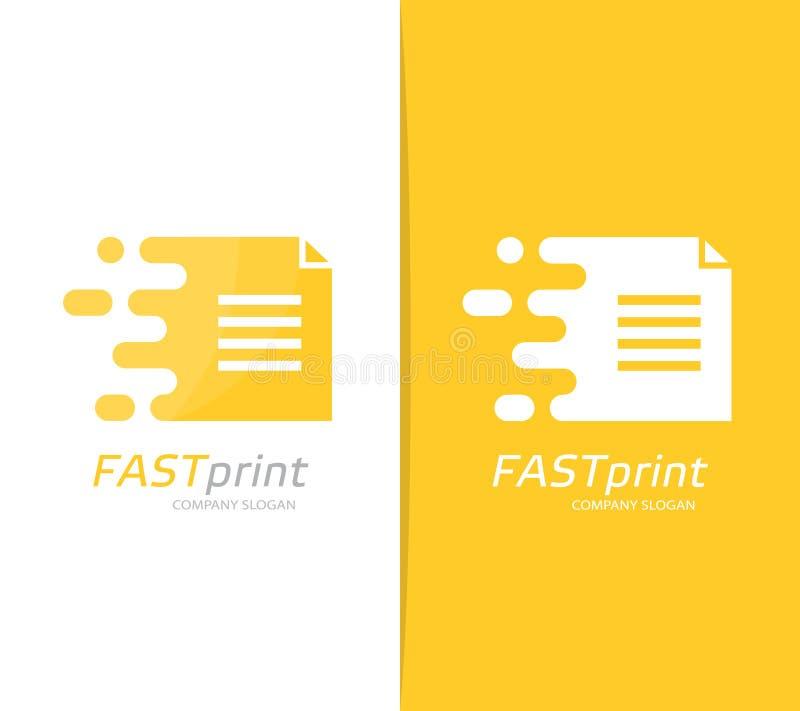 Combinación rápida del logotipo del fichero del vector Símbolo o icono del documento de la velocidad Plantilla única de la página stock de ilustración