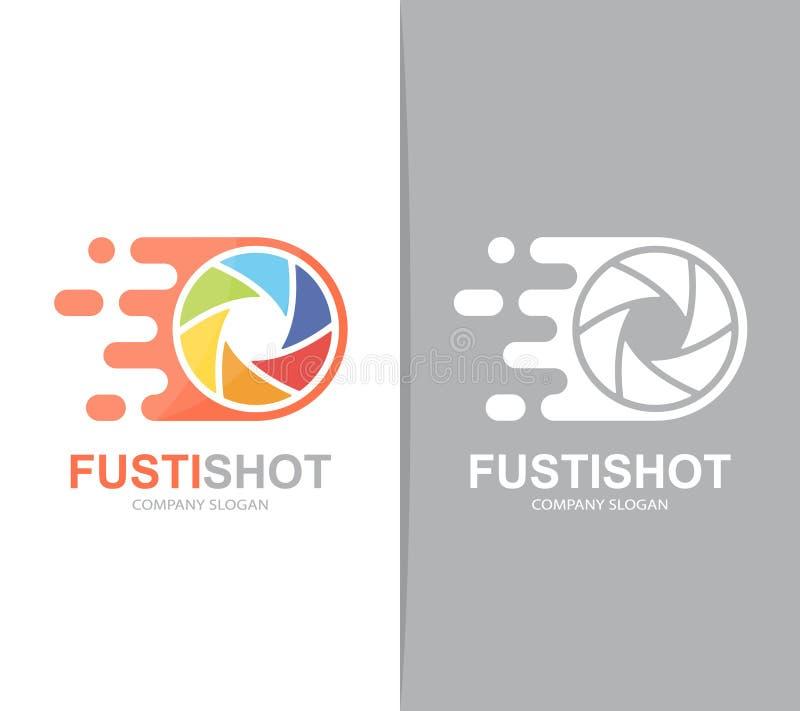 Combinación rápida del logotipo del obturador de cámara del vector Símbolo o icono de la lente de la velocidad Plantilla única de stock de ilustración