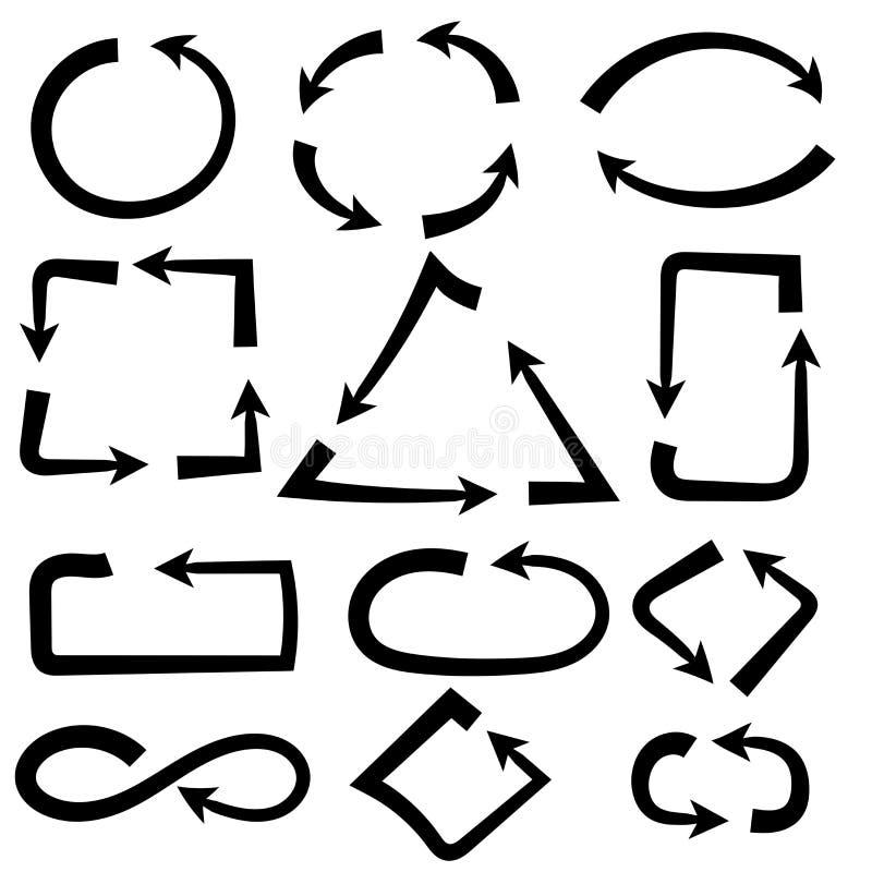 Combinaciones de las flechas Simple y complejo Iconos exhaustos de la mano intrépida negra stock de ilustración