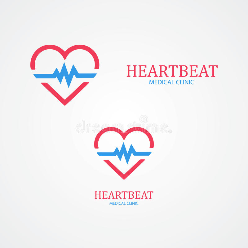 Combinaison de logo d'un coeur et d'une impulsion illustration libre de droits