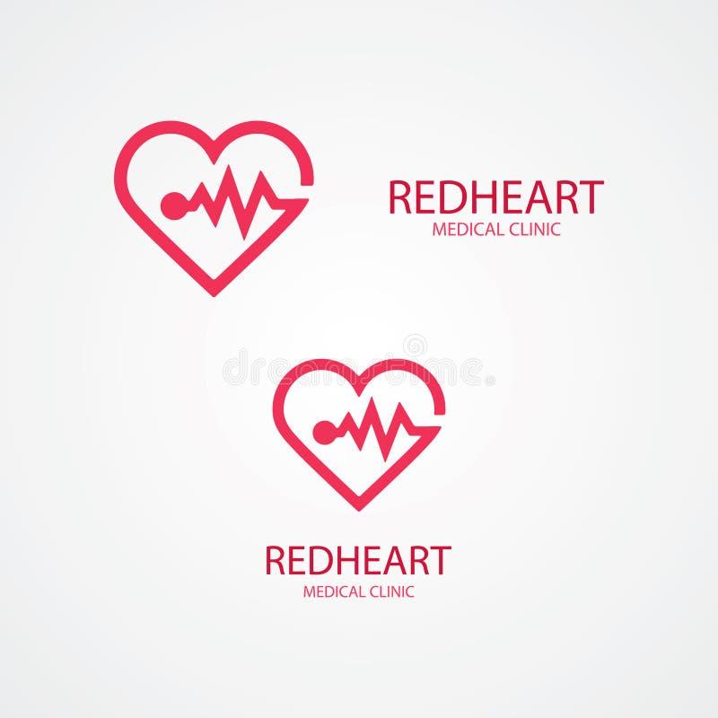 Combinaison de logo de coeur et d'impulsion illustration libre de droits