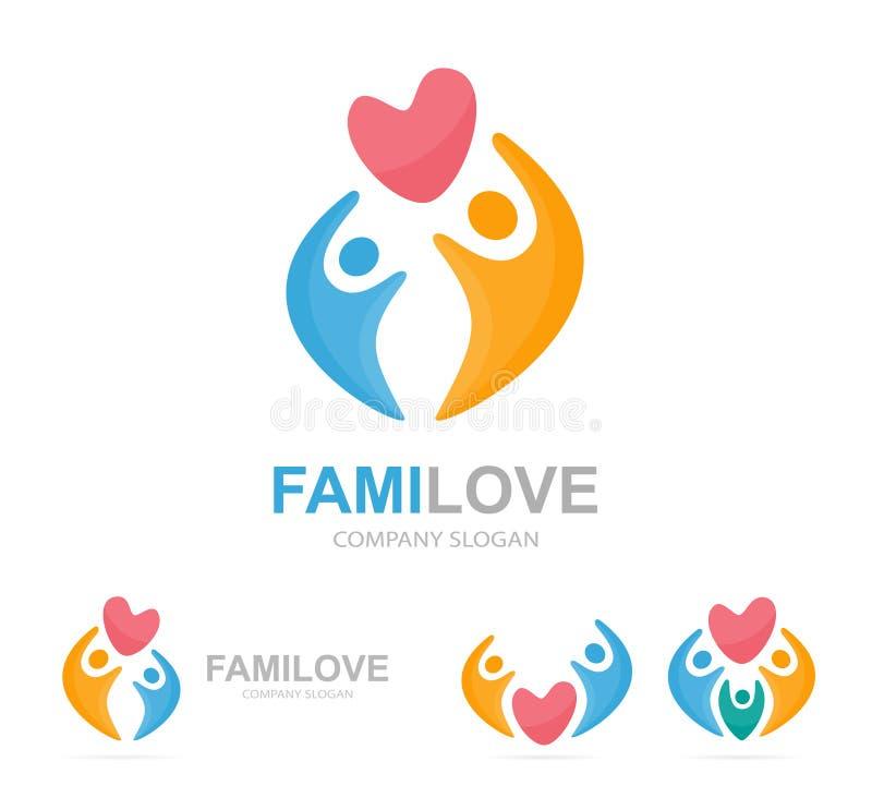 Combinaison de logo de coeur et de personnes Cardiologie et symbole ou icône de famille L'union unique, étreinte, se relient, équ illustration stock