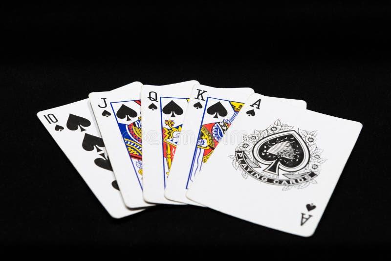 combinaison de quinte royale de jouer des cartes photo stock