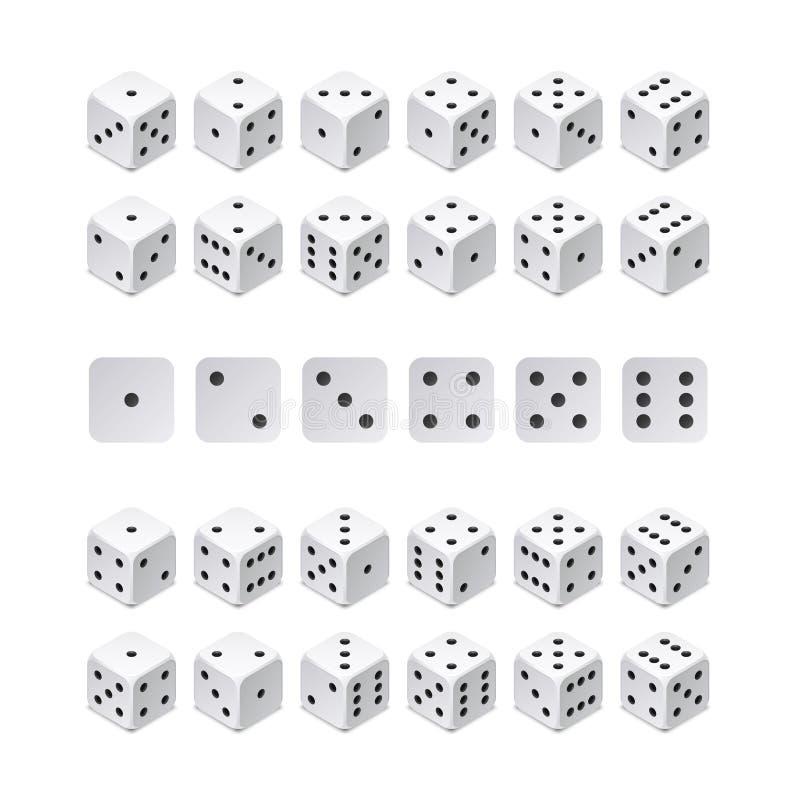 Combinaison isométrique des matrices 3d Cubes en jeu de vecteur d'isolement Collection pour jouer l'APP et le concept de casino illustration de vecteur