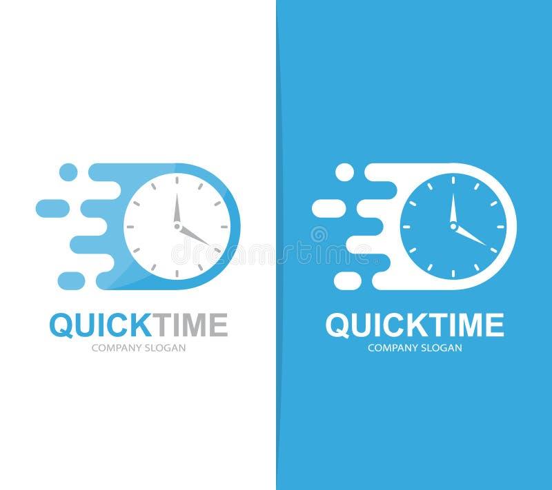 Combinaison rapide de logo d'horloge de vecteur Symbole ou icône de minuterie de vitesse Unique exprimez et observez le calibre d illustration libre de droits
