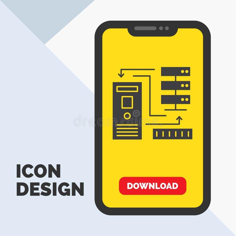 Combinatie, gegevens, database, elektronisch, het Pictogram van informatieglyph in Mobiel voor Downloadpagina Gele achtergrond stock illustratie