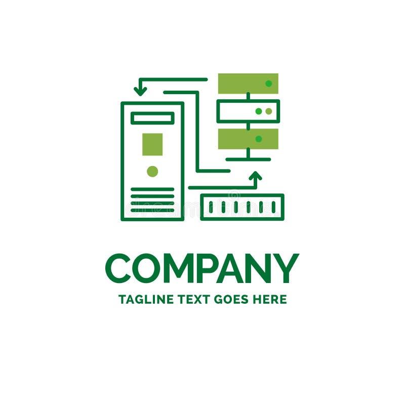 Combinatie, gegevens, elektronische database, informatie Vlakke Busine stock illustratie
