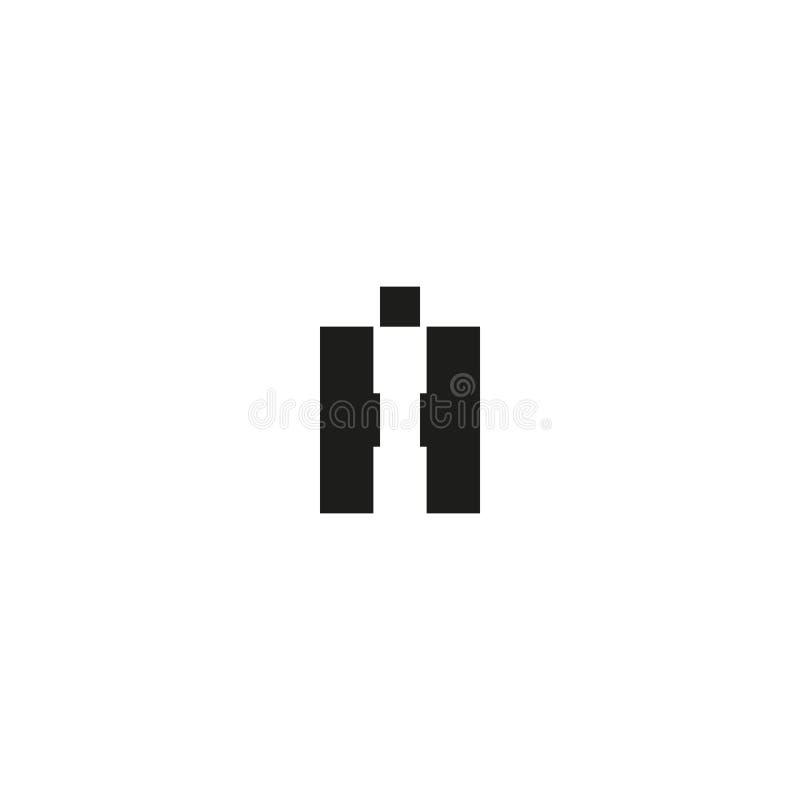 Combinatie twee brieven hallo embleem, met elkaar verbonden initialen H en creatief iHembleem van I voor adreskaartje, zwart-witt royalty-vrije illustratie