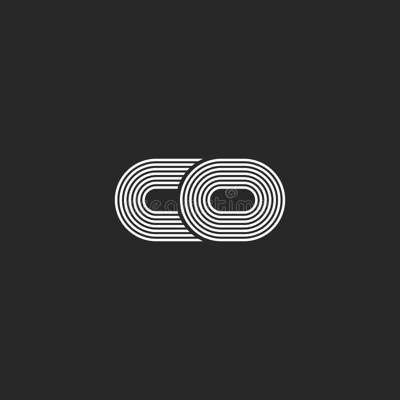 Combinatie twee kleine letters c en creatief mede het embleemmonogram van o, het zwart-witte parallelle dunne embleem van lijnen  vector illustratie
