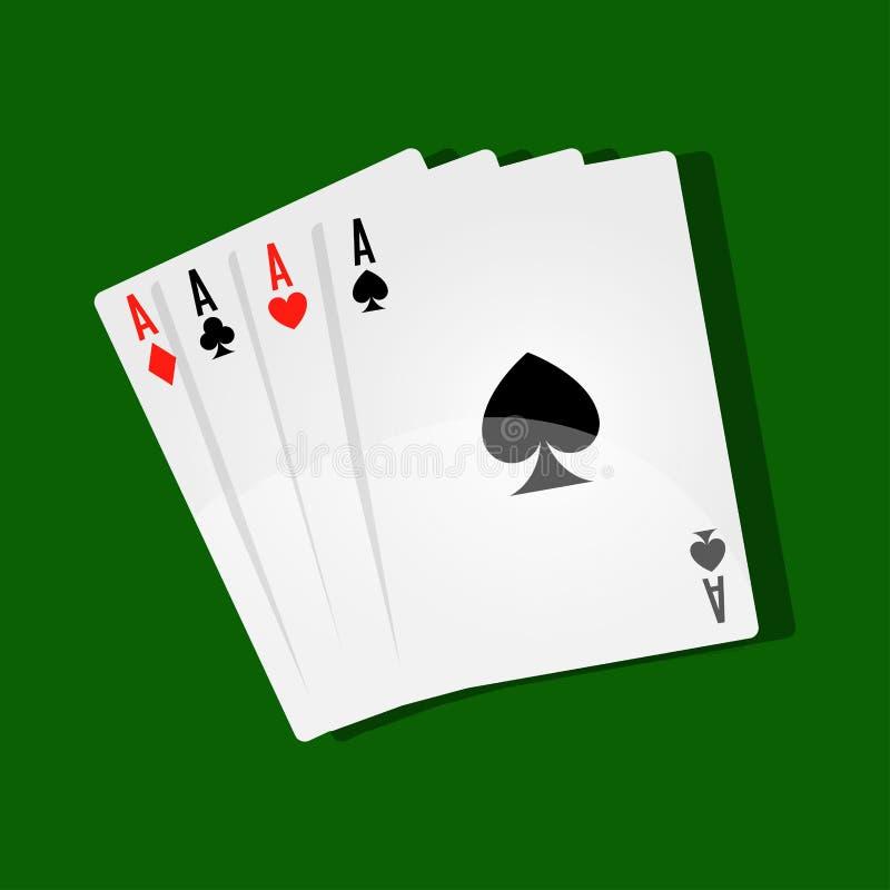 Combinatie van vier azen op groen spelgebied stock illustratie