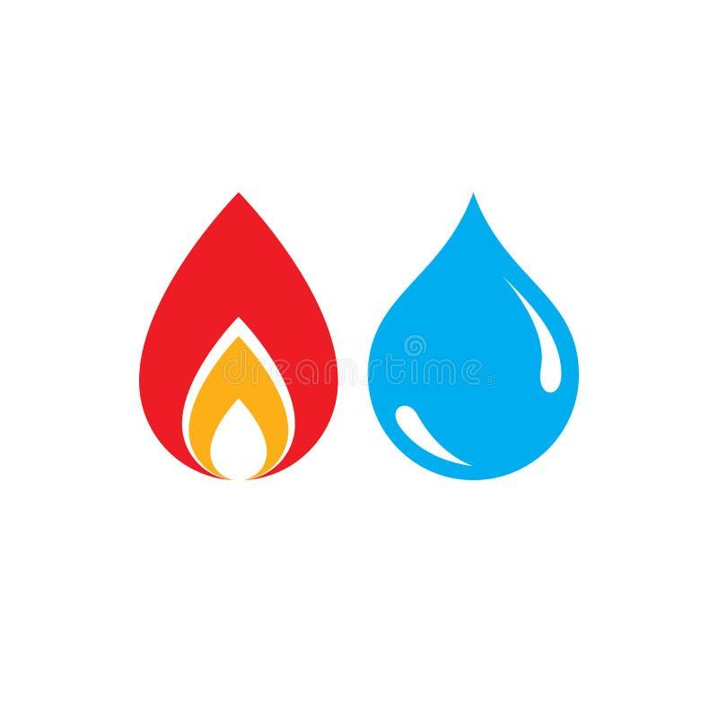 Combinatie van water en brandelementenembleem, aardmacht royalty-vrije illustratie