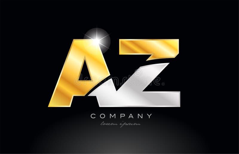 combinatiebrief az een z-alfabet met gouden zilveren grijs metaalembleem royalty-vrije illustratie