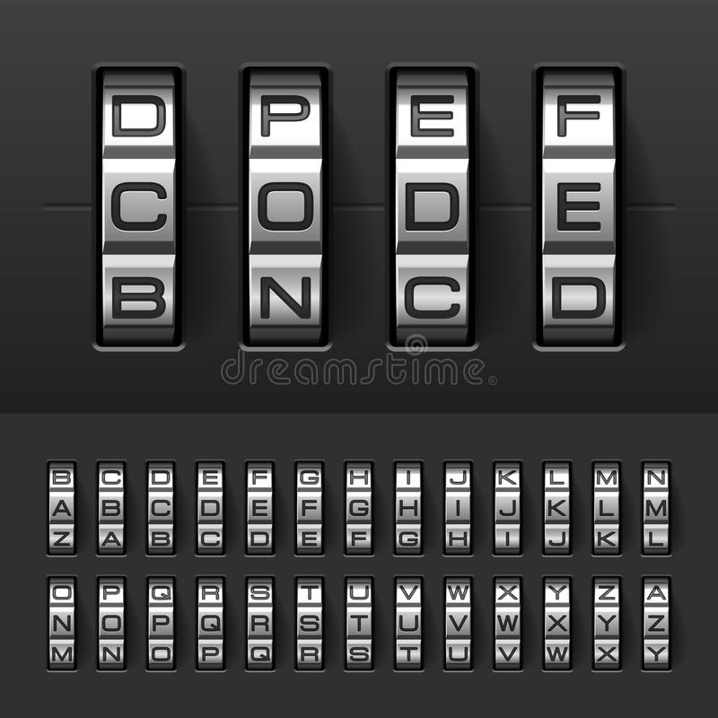 Combination, code lock alphabet royalty free illustration