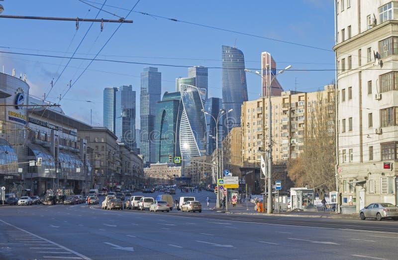 Combination of different architectural styles in Moscow. MOSCOW, RUSSIA - JANUARY 21, 2017: View from Borodinsky bridge along the Bolshaya Dorogomilovskaya royalty free stock photos