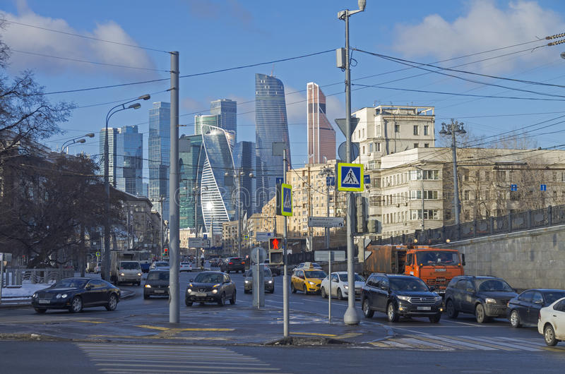 Combination of different architectural styles in Moscow. MOSCOW, RUSSIA - JANUARY 21, 2017: View from Borodinsky bridge along the Bolshaya Dorogomilovskaya stock image