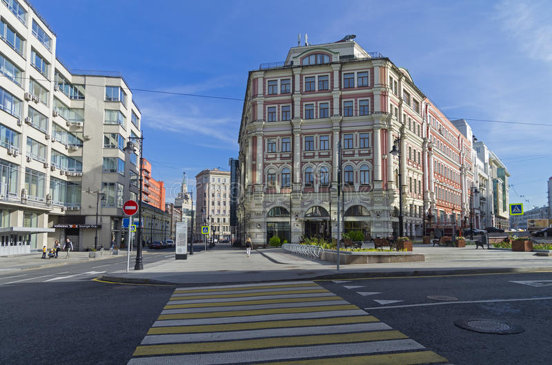 The combination of different styles of architecture in Moscow. MOSCOW, RUSSIA - OCTOBER 2, 2016: The combination of different styles of architecture in Moscow stock photo