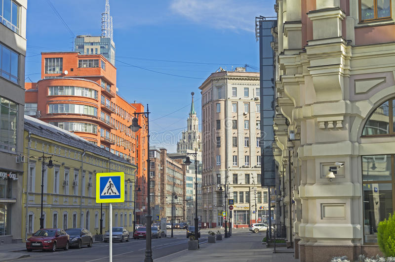 The combination of different styles of architecture in Moscow. MOSCOW, RUSSIA - OCTOBER 2, 2016: The combination of different styles of architecture in Moscow stock image