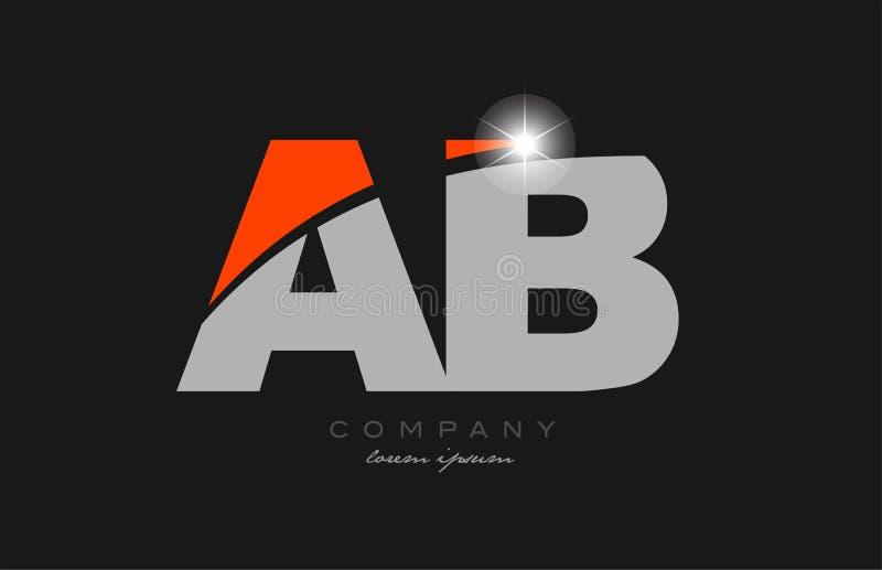 Combination Letter Ab A B In Grey Orange Color Alphabet ...