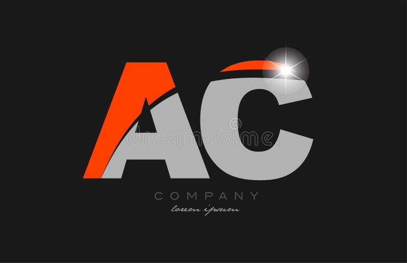 Combination Letter Ac A C In Grey Orange Color Alphabet ...