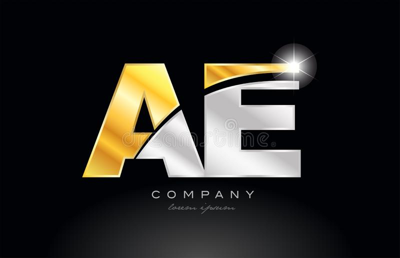 Combination letter ae a e alphabet with gold silver grey metal logo. Combination letter ae a e alphabet logo icon design with gold silver grey metal on black stock illustration