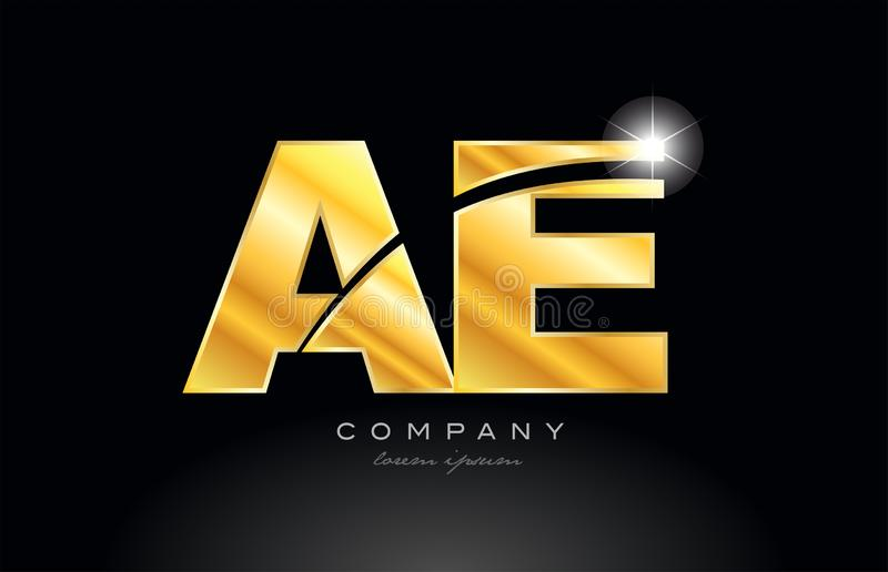 Combination letter ae a e gold golden alphabet metal logo icon design. Combination letter ae a e gold golden alphabet logo icon design with metal look on black royalty free illustration