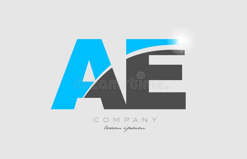 Combination letter ae a e in grey blue color alphabet for logo icon design. Combination letter ae a e in grey blue color alphabet logo icon design suitable for a stock illustration