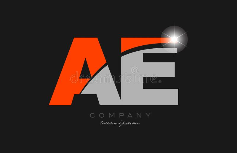 Combination letter ae a e in grey orange color alphabet for logo icon design. Combination letter ae a e in grey orange color alphabet logo icon design suitable stock illustration