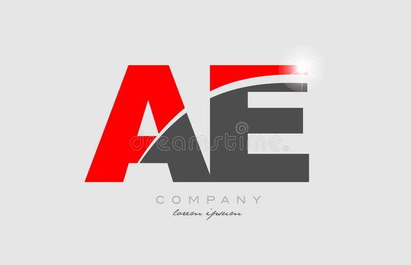 Combination letter ae a e in grey red color alphabet for logo icon design. Combination letter ae a e in grey red color alphabet logo icon design suitable for a stock illustration