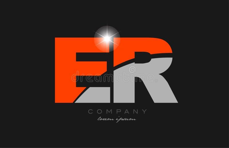 Combination Letter Er E R In Grey Orange Color Alphabet ...