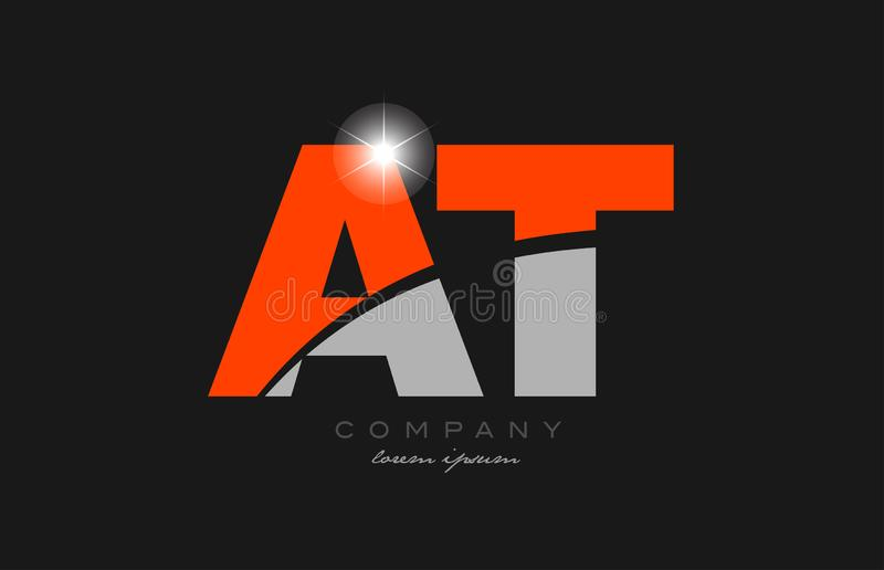 Combination Letter At A T In Grey Orange Color Alphabet ...