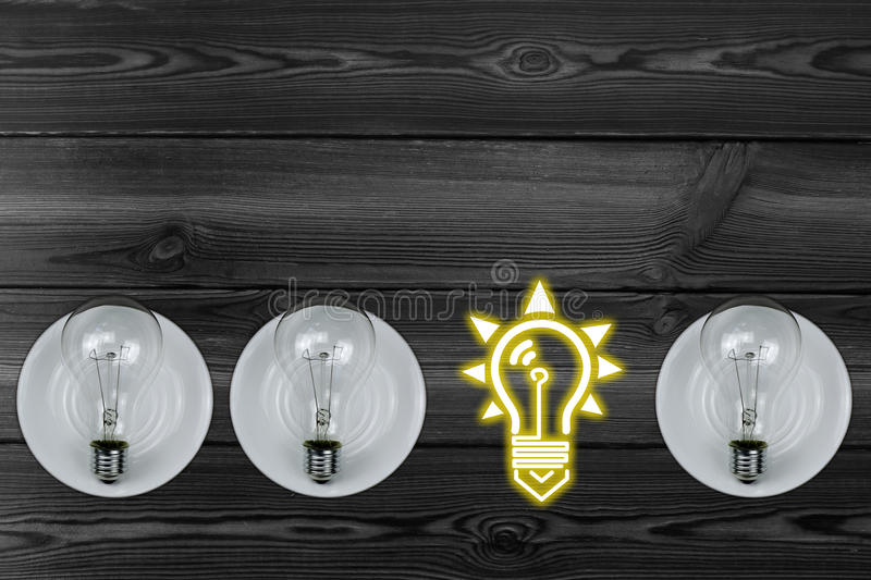 Combination of light bulbs. A variety of creative graphics stock images