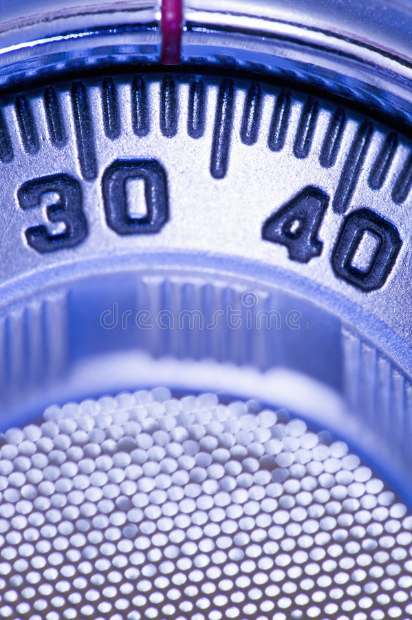 Combination lock. On safe, close-up of dial stock photography