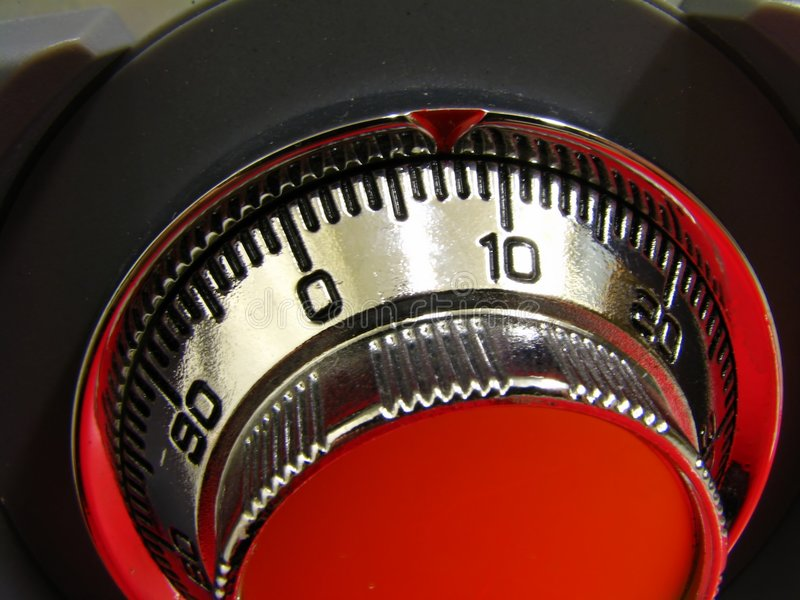 Combination lock. Close-up of combination lock of an office safe stock photo