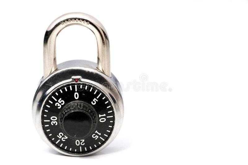 Combination lock. A combination lock on a white background. Space for copy royalty free stock photography
