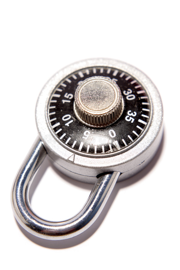 Combination lock. Isolated on white background royalty free stock photo