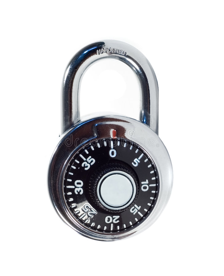 Combination lock. Isolated on white royalty free stock photography