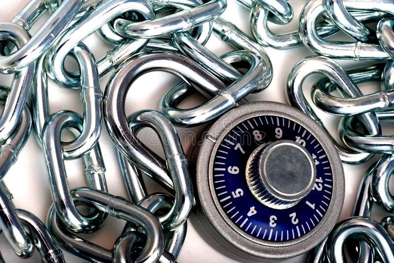 Combination Lock and Chain. stock photos