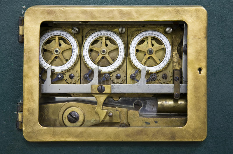 Combination lock detail. Inside view of an antique combination lock of bank Mandiri in Jakarta, Indonesia royalty free stock photography
