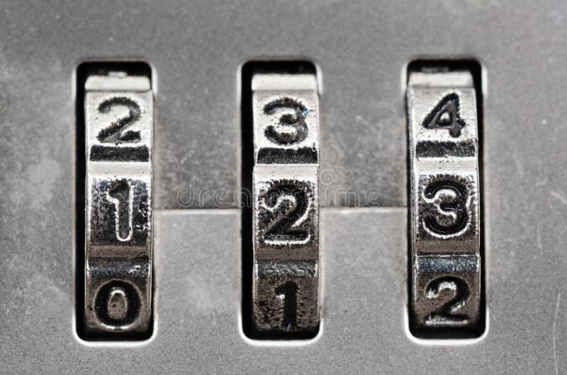 Combination Lock dials. Macro of combination lock - dials set to 123, Shallow focus stock image