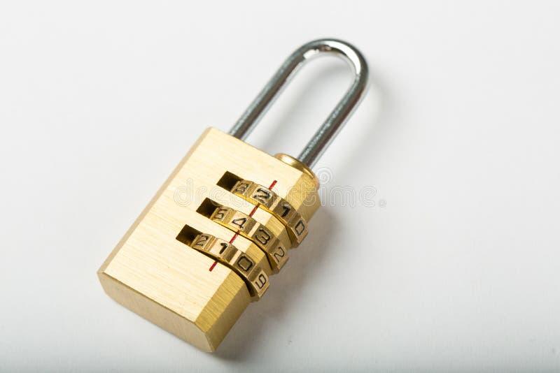 Combination lock password. On wood board stock photos