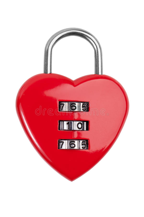 Combination lock with a red heart. On white background stock image
