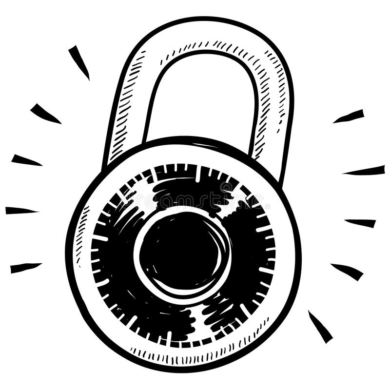 Download Combination lock sketch stock vector. Image of encrypted - 22724730