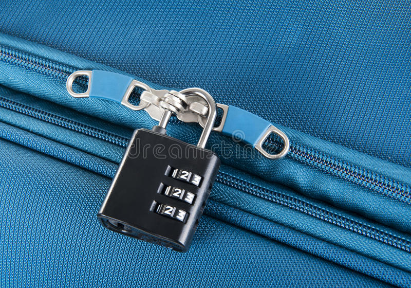 Combination lock on a suitcase. For travel royalty free stock photos