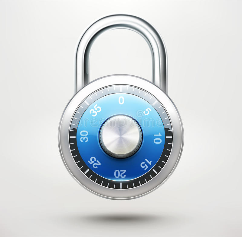 Combination pad lock stock illustration