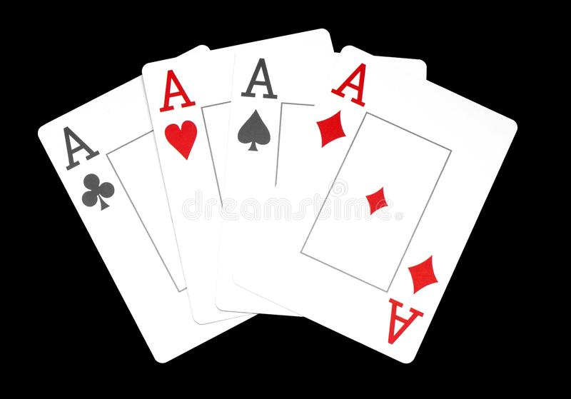 The combination of playing cards poker casino, Isolated on black background, aces royalty free stock image