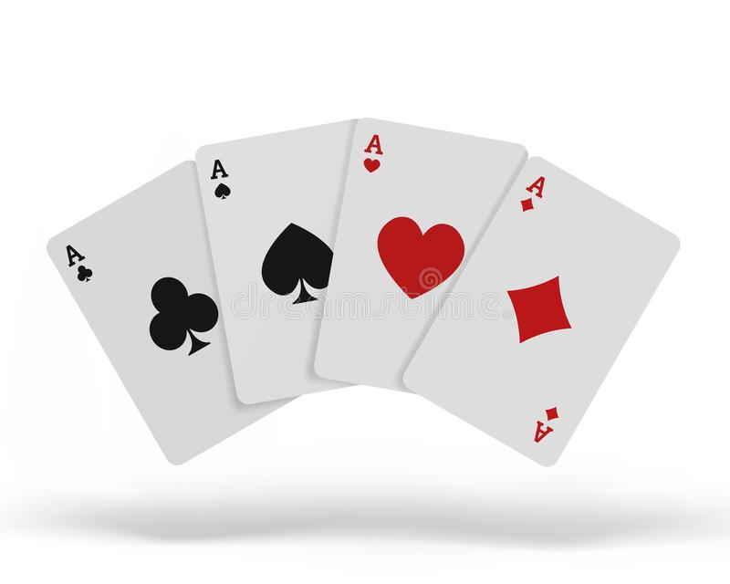 The combination of playing cards poker casino. Isolated playing cards up on table isolated on white background. Vector stock illustration